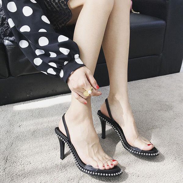 Sandale stiletto eleganti tacco 7 cm nero  stiletto simil pelle eleganti 1168