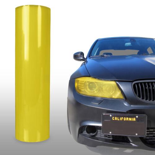 "Yellow Tint Vinyl Wrap Overlay Film Gloss Headlight Fog Lights 24/"" x 12/"""