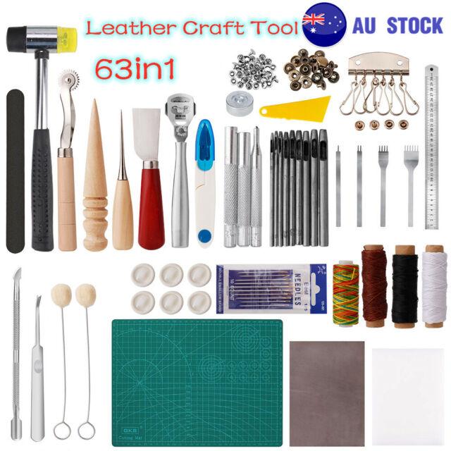 63PCS Leathercraft Tools Leather Sewing Tool Hand Stitching Working Kit Set