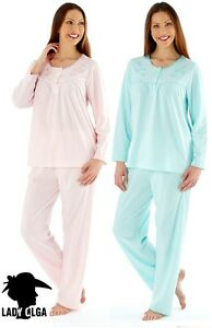 LADIES WARM FLEECE LONG SLEEVE NIGHTIE NIGHTDRESS NIGHTWEAR  PINK AQUA