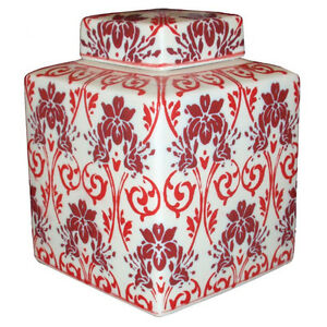 Chinese Porcelain 8 inch Red Floral Pot with lid - Darlington, United Kingdom - Chinese Porcelain 8 inch Red Floral Pot with lid - Darlington, United Kingdom