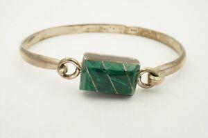 Vintage-Taxco-Mexico-TR-71-Sterling-Silver-925-Malachite-Hinged-Bangle-Bracelet