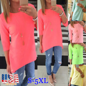 Women-Summer-Loose-3-4-Sleeve-Causal-Tunic-Tops-Blouse-T-Shirt-Plus-Size-Tee-USA