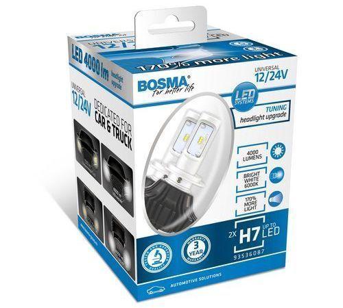 2x lámparas LED H7 coche 12/24V 4000 lumens luz blanca 6000K BOSMA 6087