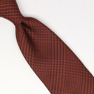 John-G-Hardy-Mens-Silk-Wool-Necktie-Rust-Red-Black-POW-Glen-Plaid-Check-Tie