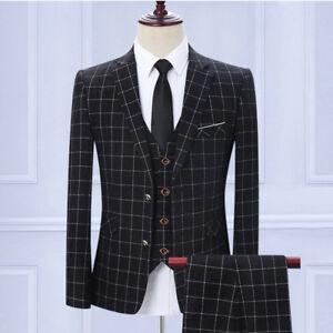 Mens-Black-Plaid-Groom-Wedding-3-Piece-Suits-Tweed-Checkered-Slim-Formal-Tuxedos