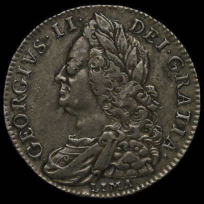 1746/5 George II Early Milled Silver Lima Half Crown, Rare