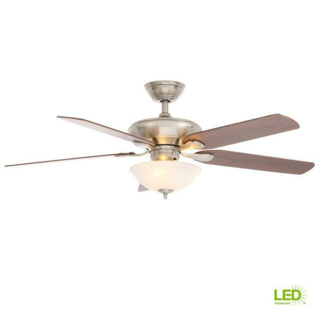 Hampton Bay Flowe 52 In Indoor Brushed Nickel Ceiling Fan With Light Kit Remote