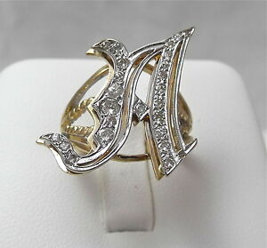 Image Is Loading 14K Two Tone Gold Diamond Letter Initial A
