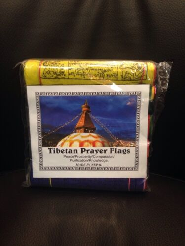 "125 Tibetan Prayer Flag Buddhist 9""x6"" Wind Horse Om Handmade Nepal FAIRTRADE"