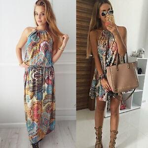 Womens-Floral-Sleeveless-Halter-Neck-Maxi-Mini-Dress-Beach-Casual-Boho-Sundress