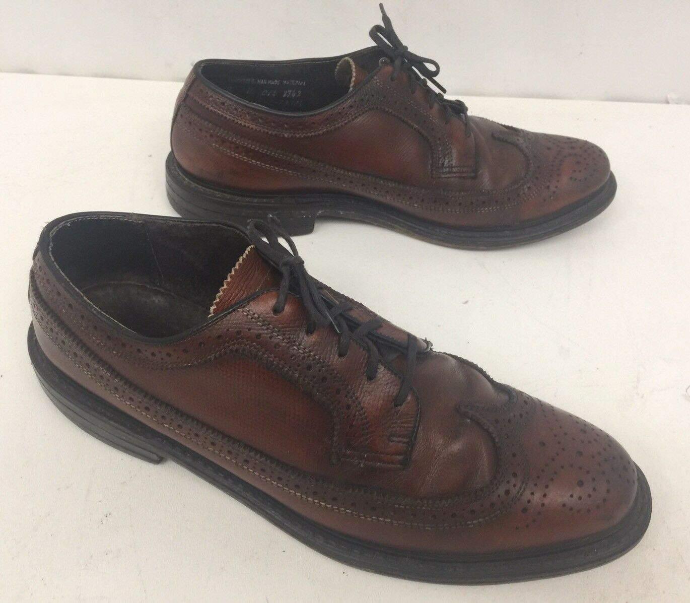 Vintage Florsheim Imperial Brown Pebble Leather Long Wing Tip shoes Size 10 D