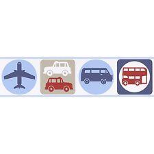 TRANSPORT SELF-ADHESIVE WALLPAPER BORDERS (8957-14) NEW CARS BUSES PLANES