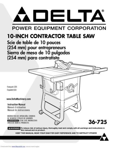 Delta 36-725 Contractor Saw Owners Instruction Manual