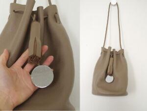 Pebbled Taupe Bucket Bag Fringe Disc