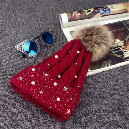 Knit Hat Womens Ski Cap Ladies Winter Warm Fur Pom Ball Bobble Crochet Beanie