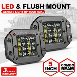 "2X 5"" Flush Mount 200W LED Work Light Bar Rear Bumper Reverse Pods 4-Row Driving"