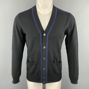 PS-by-PAUL-SMITH-Size-S-Navy-Cotton-Contrast-Trim-Buttoned-Cardigan-Sweater