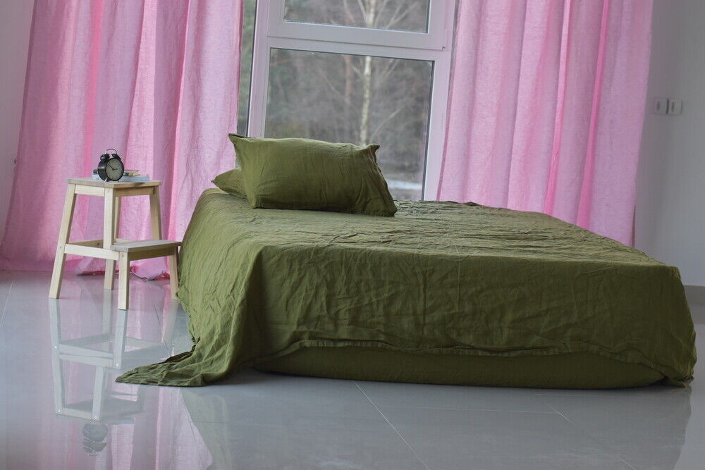 LINEN SHEET SET in a Grün khaki Queen King Twin linen bedding set Luxury Eco