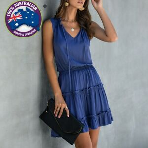 Summer-Sleeveless-Boho-Solid-Colour-Grey-Blue-Black-Ruched-Ruffle-Dress-S-2XL