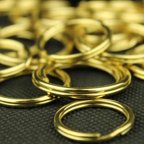 Solid Brass Key Ring Split Rings Round Keyring 15//20//25//30//35mm Loop Keychain