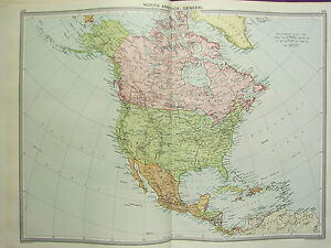LARGE MAP NORTH AMERICA DOMINION OF CANADA UNITED STATES - 1920 us map