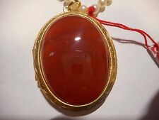 "HOBE  50yr old 5mm Majorca Pearl NECKLACE 2"" 49CT CARNELIAN Pill box Locket MINT"