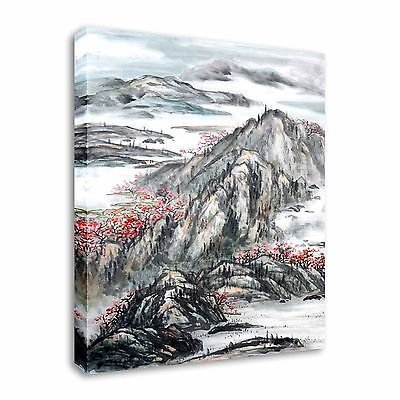 Japanese / Chinese Painting Misty Peaks Canvas Wall Art Print