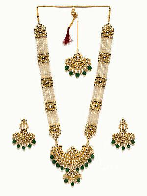 Glamorous Collection Long Rani Haar Green kundan Necklace Set Bridal Indian Jewelry Bollywood Muslim Necklace Jewelery Set
