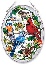 Birds Sun Catcher AMIA Hand Painted Large Oval New Cardinal Blue Jay Chickadee