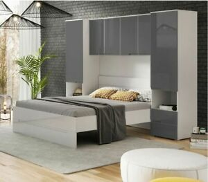 Cellini White Gloss Grey Overbed Storage Unit Wardrobes Bedroom