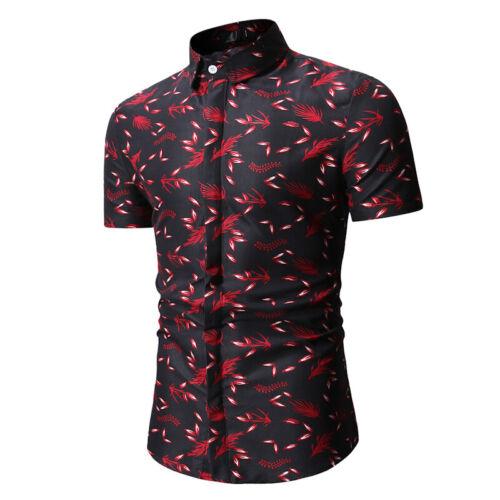 Herren Kurzarmshirt Hawaii Hemden Sommer Freizeithemd Strand Urlaub Top Oberteil