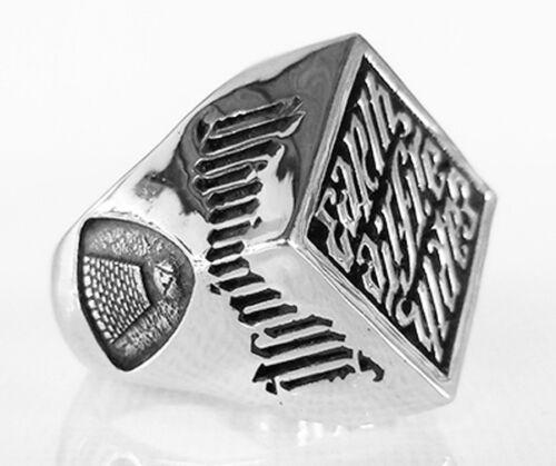 Antique Masonic Mystic Agent Masonic Ring in Sterling Silver Illuminati Ring