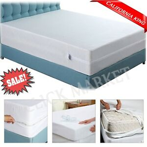 Details About California King Mattress Encasement Protector Zippered Bed Bug Waterproof Cover