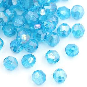 500-Seeblau-Klar-Acryl-Schliffperlen-Facettiert-Beads-Bicone-6x6mm