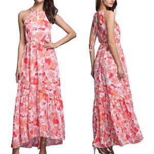 Fashion Women Summer Long Maxi Floral Evening Party Dress Beach Boho Sundress