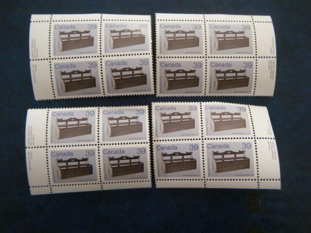 Canada#928 MNH Set of 4 Corner Blocks 'Settle-Bed' Lot#FF12