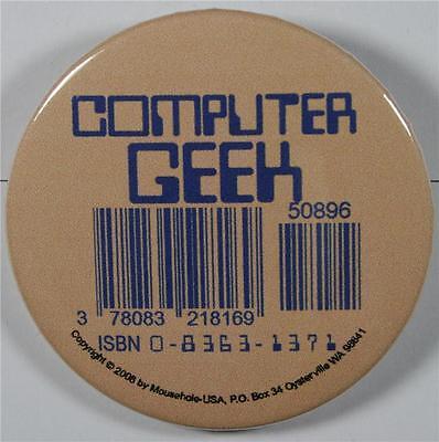 #08033 Pinback Button Barcode Tattoo Computer Geek