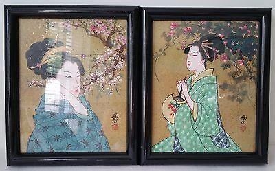 Japanese Painting Pairs of Beautiful Women Artist Sign