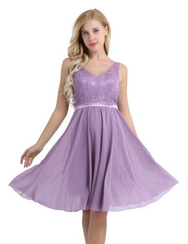 Women/'s Lady V Neck Lace Floral Prom Evening Party Bridesmaid Wedding Dress Gown