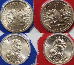 2006 P D Native American Sacagawea BU Satin Dollars US Mint Cello 2 Coin Set