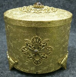 Thorens-Gold-Filigree-Swiss-Musical-Vanity-Powder-Music-Box-Jeweled-Footed-VTG