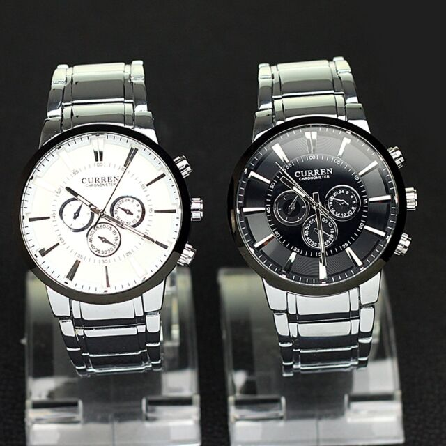 CURREN Men's Luxury Stainless Steel Big Dial Waterproof Quartz Sport Wrist Watch