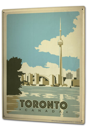 Tin Sign XXL Adventurer  Toronto Canada skyline river CN Tower World/'s Highest T