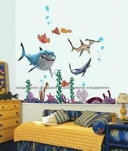 FINDING NEMO Sharks Wall Stickers Colourful Fish Sea ...