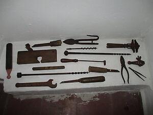 Kit-de-16-Outils-de-Charpentier-Debut-Siecle-Ensemble-Of-Tools