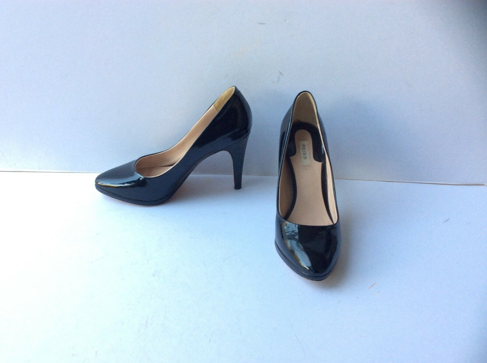 REISS Ladies Black Patent Leather Slip On Stiletto Heel shoes, Size  UK 4  EU 37