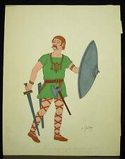 Franc Mérovingien VIe - VIIe siècle ap JC signé Emile Gallois .dessin aquarelle
