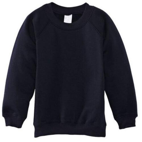 Enfants Garçons Filles Uniforme Scolaire Plain Doublé Sweat-Shirt Pull over Jumper 2-14 ans