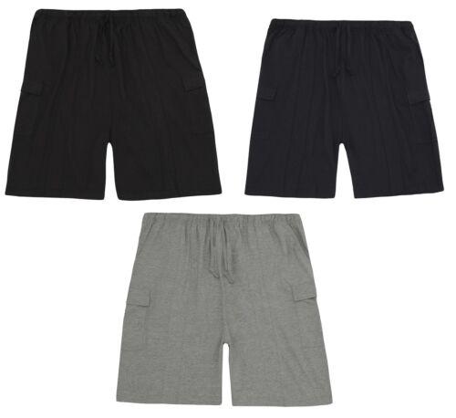 Da Uomo Taglie Forti Cotone Jersey Pantaloni corti con tasconi//Lounge Shorts ~ 3-5 XL